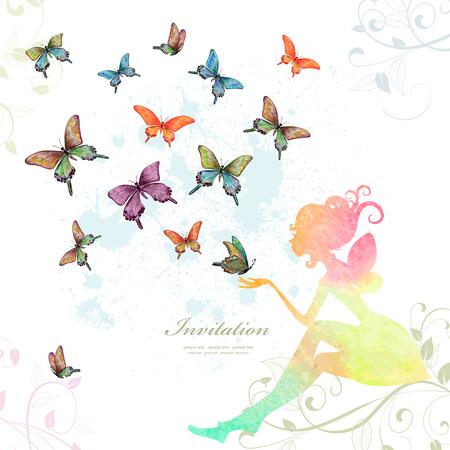 dekoration: Grußkarte mit Fee mit Schmetterlingen. Aquarellmalerei. Vektor-Illustration