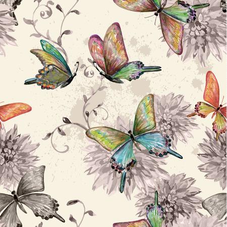 vintage naadloze textuur met vliegende vlinders. waterverf het schilderen. vector illustratie Stock Illustratie