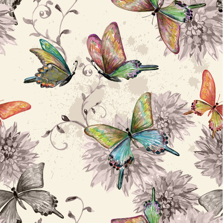 vintage seamless texture with of flying butterflies. watercolor painting. vector illustration Ilustração