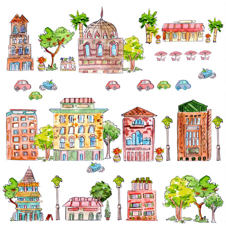 cute collection of vintage house with trees. watercolor painting. vector illustration