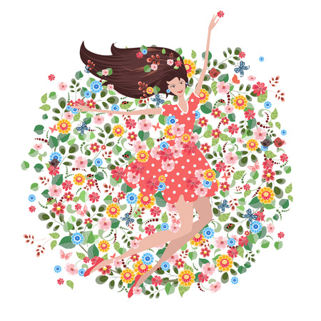 hairstyle: Happy young woman on the floral meadow. eco greeting card. round pattern Illustration