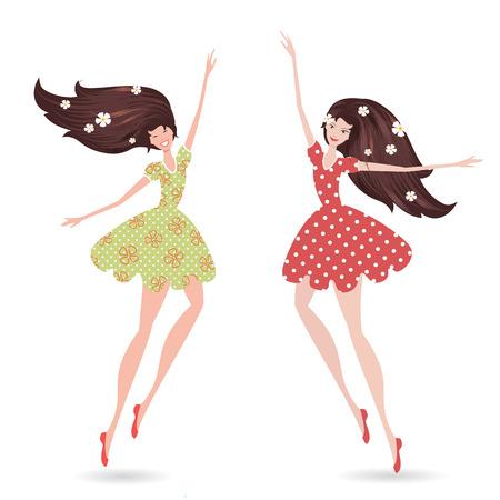 fiatal nők: elszigetelt fiatal nő, hosszú haj Illusztráció