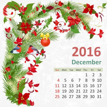 diciembre: Calendario para el a�o 2016, diciembre Vectores