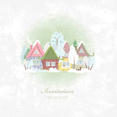 winter scenery: vintage invitation card with winter rural scenery