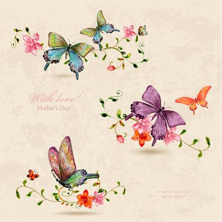 mariposa: una colección de mariposas en las flores de la vendimia. Pintura de la acuarela Vectores