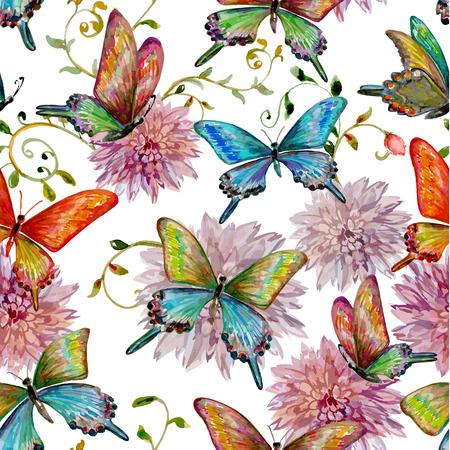 retro nahtlose Textur mit der fliegenden Schmetterlingen. Aquarellmalerei