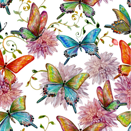 retro seamless texture with of flying butterflies. watercolor painting