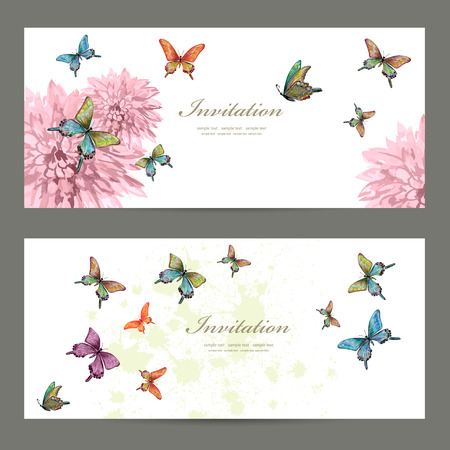 borde de flores: tarjetas de invitaci�n de la colecci�n con las mariposas. Pintura de la acuarela