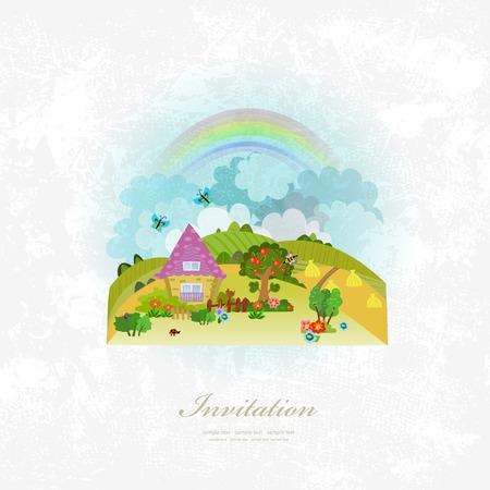 arbol genealógico: tarjeta de invitación de la vendimia con el paisaje rural Vectores