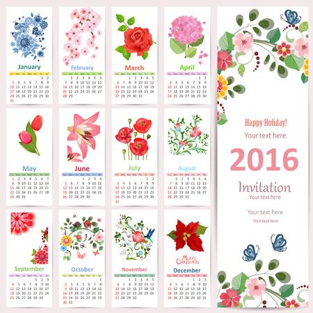 romantique: Calendrier romantique pour 2016 avec de belles fleurs. Carte mignonne avec la conception florale.