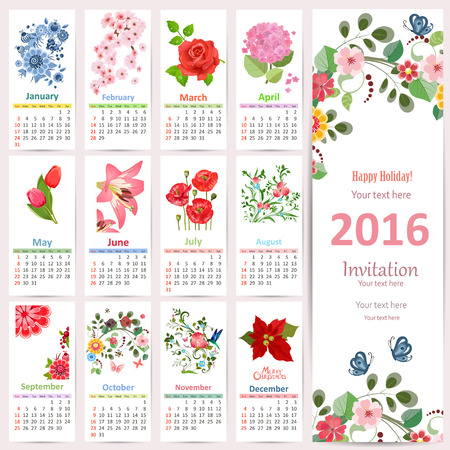 grid pattern: Romantic Calendar for 2016 with beautiful flowers. Cute card with floral design.