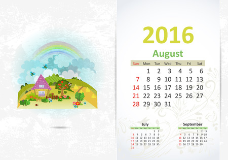 fense: Cute sweet home. calendar for 2016, August