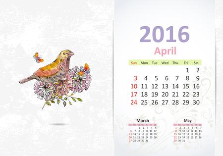 4월: Calendar for 2016, april