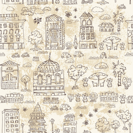 old town: seamless background of city doodle grunge