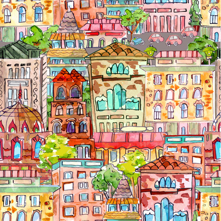 seamless texture with a vintage cityscape. watercolor painting illustration