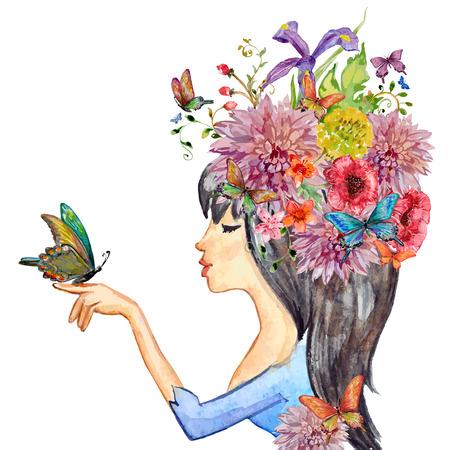 donna farfalla: bella ragazza con i fiori sulla sua testa. pittura ad acquerello illustrazione