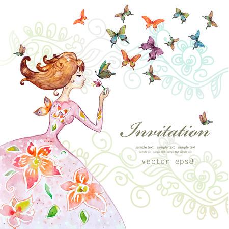 나비와 함께 아름 다운 소녀입니다. 수채화 그림 그림