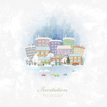 winter car: vintage invitation card with winter city scenery
