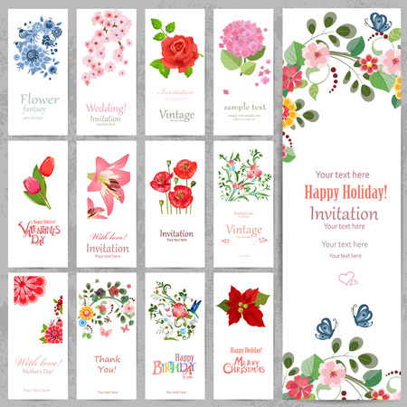 butterfly flower: Romantic collection vertical invitation cards with beautiful flowers.