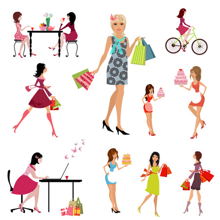 fashion collection: Collection of beautiful, fashion young women Illustration
