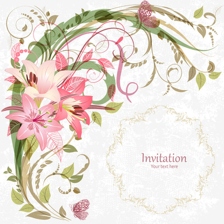 lily flowers: romantic invitation card with pink lily. With love for design. Illustration