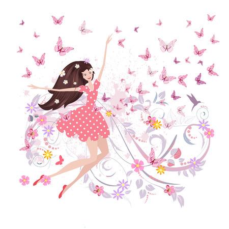 cartoon mariposa: dise�o floral abstracto de la muchacha linda con las mariposas