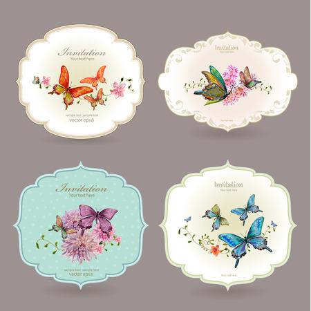 borde de flores: colección de etiquetas retro con mariposas. ejemplo de la pintura de acuarela