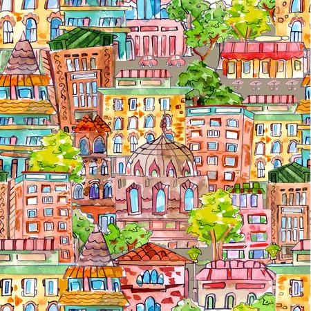 かわいい街並みとシームレスなテクスチャです。水彩画。ベクトル図