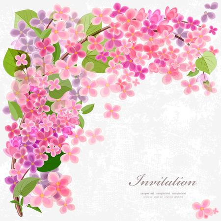Tarjeta de invitación floral con lila flor. Con amor para el diseño.