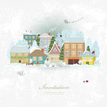 houses street: Cute invitation card with winter city life. Merry Christmas.