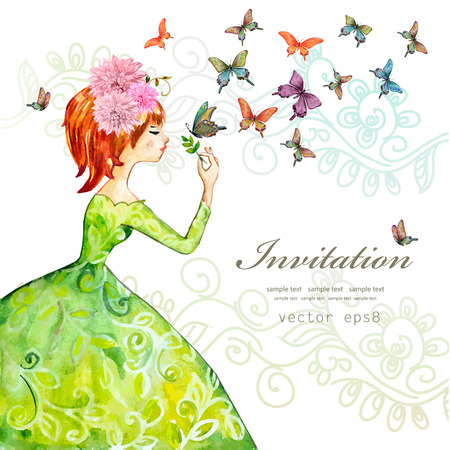 fashion girl with butterflies. watercolor painting illustration 版權商用圖片 - 44396191