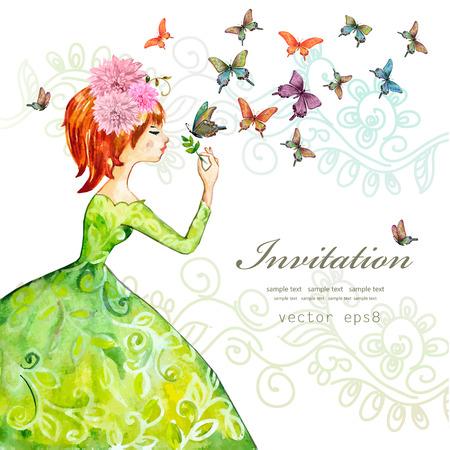 Mode-Mädchen mit Schmetterlingen. Aquarell-Illustration Standard-Bild - 44396191
