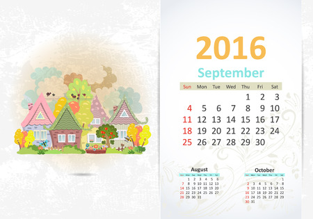 fense: Cute sweet town. calendar for 2016, September Illustration