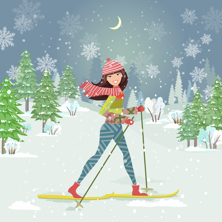 country girl: happy girl on cross country skiing in winter forest