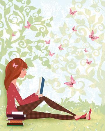 Nettes Mädchen, das ein Buch unter Baum Lesung mit dem Stapel der Bücher. Frühlingswald mit Schmetterlingen