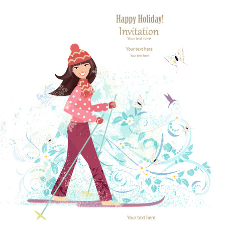 winter girl: Invitation card with happy girl is skiing for your design Illustration