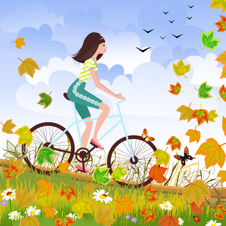 Beautiful girl is riding on a bicycle in a autumn forest. Ilustração