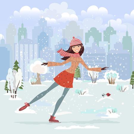 winter tree: Cute girl skating in city park Illustration