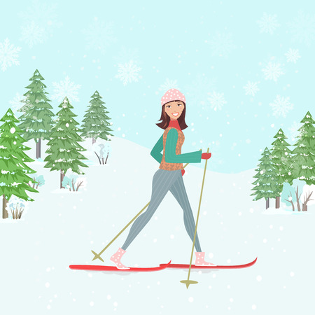 woman smile: happy young woman cross country skiing in winter forest