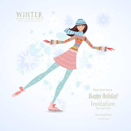 ice rink: Invitation card with happy girl skating on ice for your design Illustration