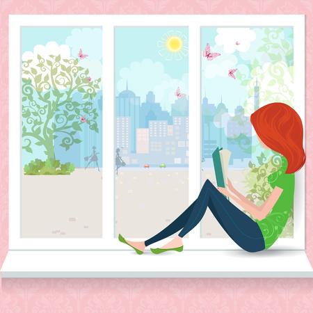 Het leuke meisje is het lezen van een boek op een vensterbank.