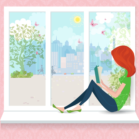Cute girl is reading a book on a window sill. Vectores
