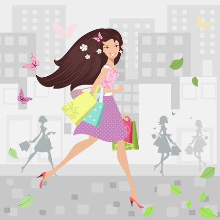Gelukkig meisje lopen in de stad met boodschappentassen Stock Illustratie