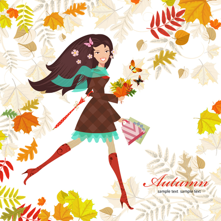 shopping bag: Smiling girl with bouquet of fall colorful leaves. happy autumn day