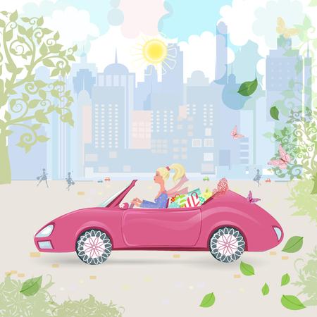 femme papillon: Femme de voitures en décapotable rose avec des sacs dans la ville. journée ensoleillée heureux