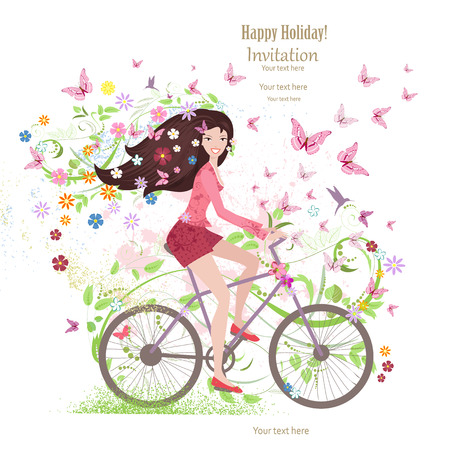 Cute young girl on a bike with butterflies and flowers