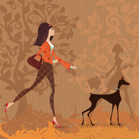 walk: fashion young woman and her dog are walking in the park. Illustration