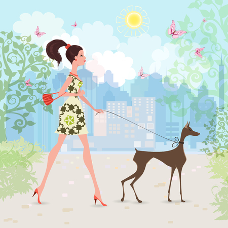 shopping people: Lovely girl and her dog are walking in the city. Illustration