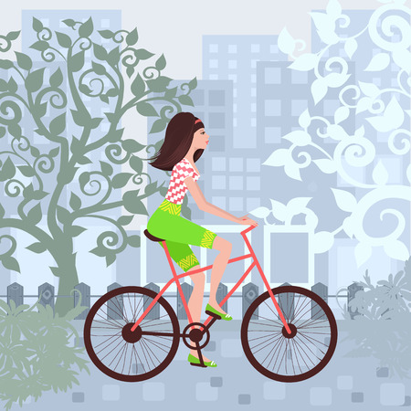 Beautiful girl is riding on a bicycle in a city. Иллюстрация