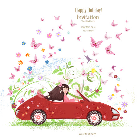 female driver: beautiful girl is driving car. the art floral red cabriolet with flower background.